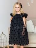 Детское платье Белль, цвет черный в горох