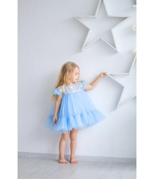 Детское платье Белль, цвет серебряная пайетка и голубой