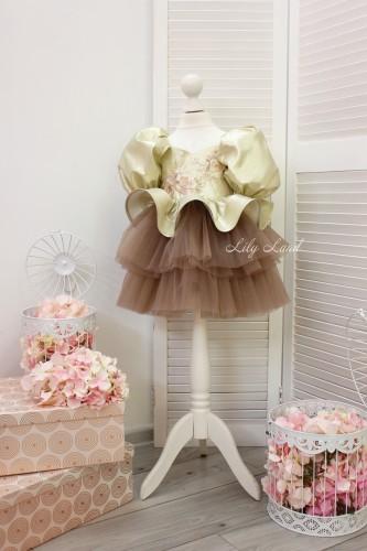 Детское нарядное платье Фиона, цвет золото с капучино