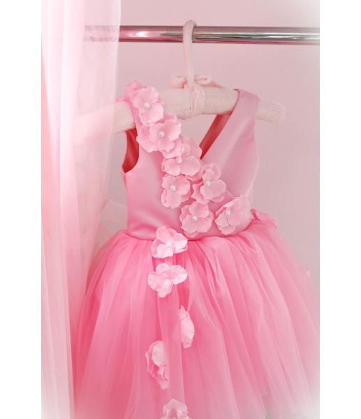 Детское нарядное платье Фловер, цвет розовый