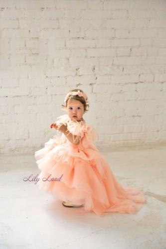 Детское нарядное платье Келли, цвет персик с бусинками