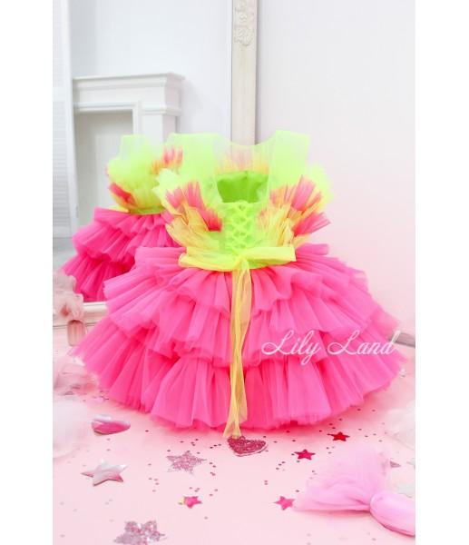 Детское нарядное платье Хлоя, цвет зелено-малиновый неон