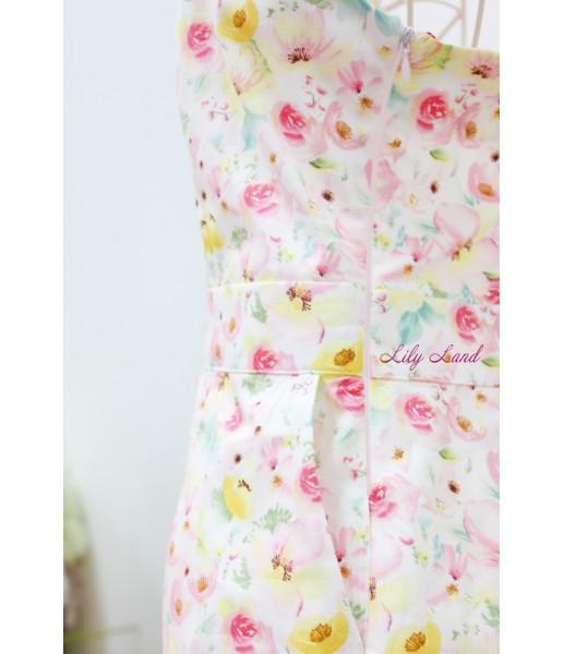 Комплект летних сарафанов в цветочный принт, цвет белый с розовым