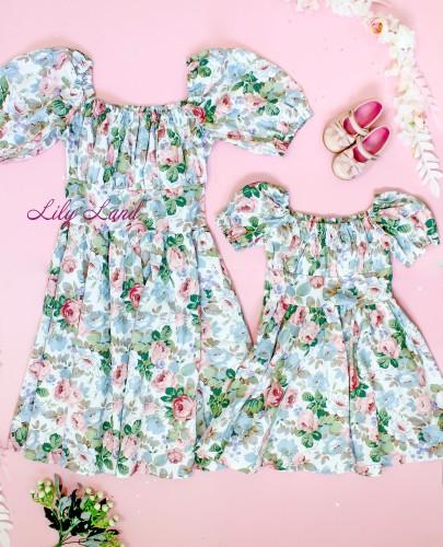 Комплект летних платьев в цветочный принт, цвет зелено-розовый
