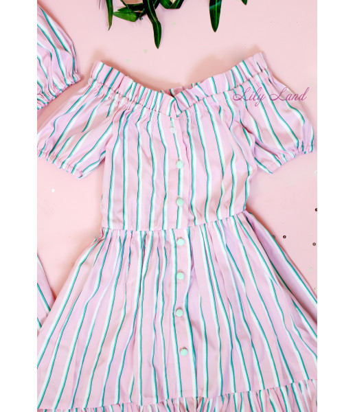 Комплект летних платьев в полоску, цвет розовый