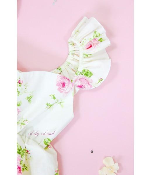 Комплект летних платьев в цветочный принт, цвет белый с розовым