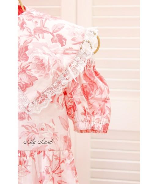 Комплект летних платьев в цветочный принт, цвет Бело-розовый