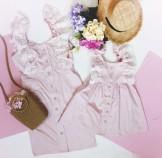 Комплект летних платьев из сатина и кружева Blumarine . Пудровый цвет