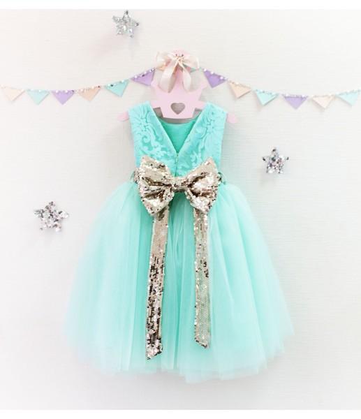 Детское платье Луиза, цвет мята и золото