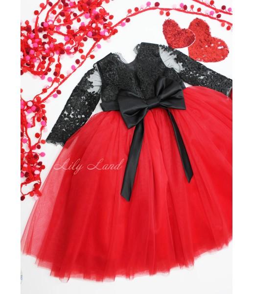 Детское нарядное платье Мелисса, цвет красный с черным