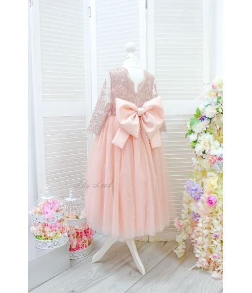 Детское нарядное платье Мелисса, цвет персик