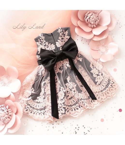 Детское нарядное платье Мелисса, цвет черный с персиковым кружевом