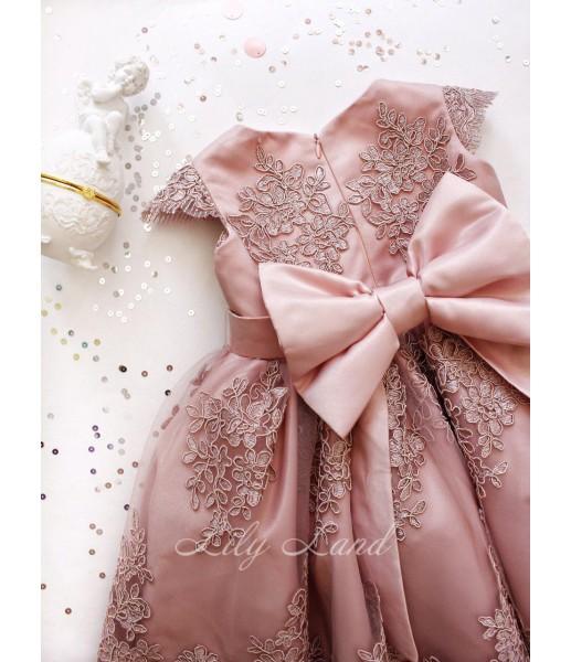 Детское платье Мелисса, цвет розовая пудра атлас и шампань кружево