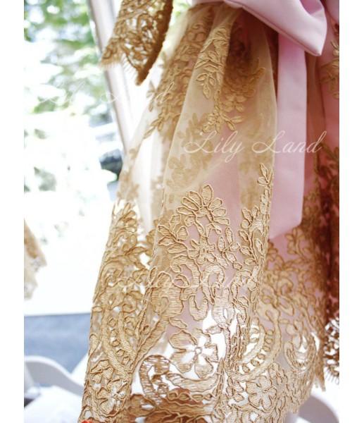 Детское нарядное платье Мелисса, цвет розовый с золотым кружевом