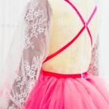Детское нарядное платье Мишель с пудровой шантильей  и малиновой юбкой, длинный рукав