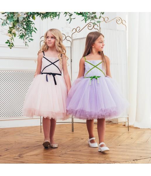 Детское нарядное платье Мишель с пудровой шантильей  и темно синей велюровой лентой