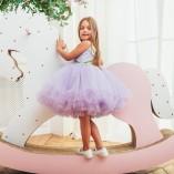 Детское нарядное платье Мишель с лавандовой шантильей  и оливковой велюровой лентой