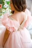 Детское нарядное платье Наоми, цвет пудра с золотом