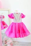 Детское нарядное платье Наоми, цвет малина неон
