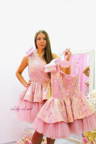 Комплект нарядных платьев Ненси, цвет нежная пудра