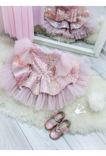 Детское нарядное платье Ненси, цвет пудровый с крылышками