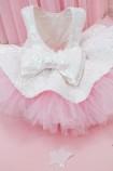 Детское нарядное платье Ненси, розовый с белой пайеткой