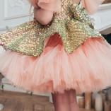 Детское нарядное платье Ненси, цвет персиковый