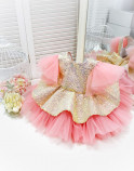 Детское нарядное платье Ненси, цвет розовый с крылышками