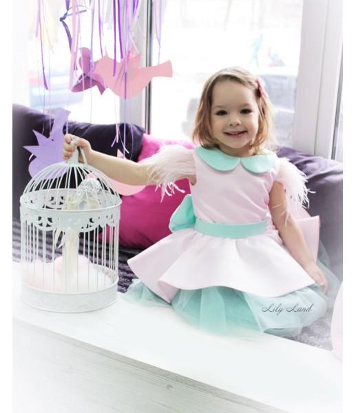 Детское платье Нинель, цвет мята и нежно розовый