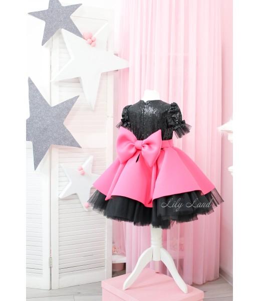 Детское платье Нинель, неопрен и глитер черный с малиновым