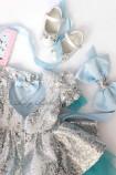 Детское платье Нинель, цвет серебро и голубой
