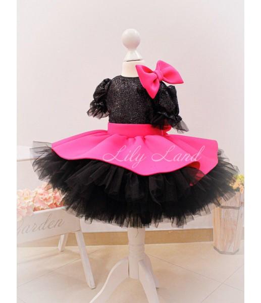 Детское платье Нинель, неопрен и глитер черный с малиновым, с бантом на плече