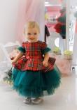 Детское платье Нинель, цвет красный с зеленым