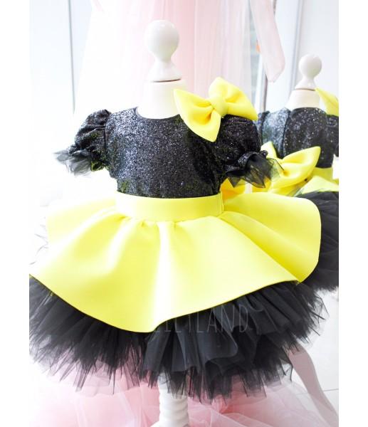 Детское платье Нинель, неопрен и глитер черный с желтым, с бантом на плече