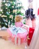 Детское платье Нинель, неопрен и глитер розовый с голубым, с бантом на плече