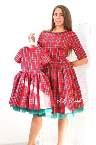 Новогодний комплект платьев, красная клетка