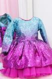 Детское нарядное платье Камелия, цвет бирюзово - малиновый