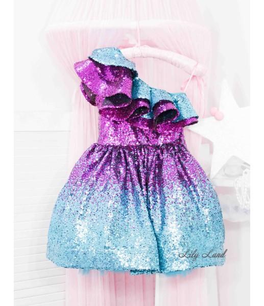 Детское нарядное платье Оливия на одно плечо, цвет бирюзово - малиновый