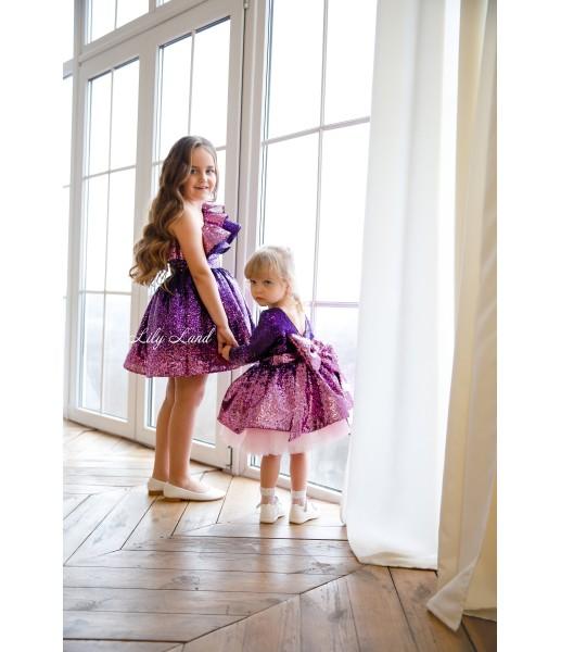 Детское нарядное платье Оливия на одно плечо, цвет розово - фиолетовый