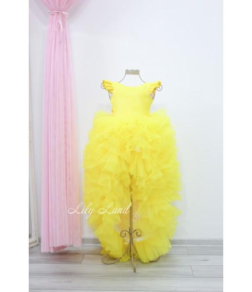 Детское нарядное платье Роза, цвет желтый