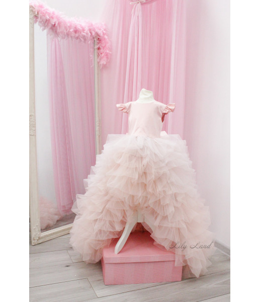 Детское нарядное платье Роза, цвет розовая пудра