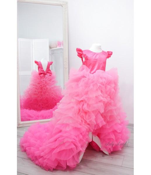 Детское нарядное платье Роза, цвет барби