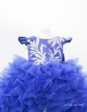 Детское нарядное платье Роза, цвет синий с аппликацией на топе