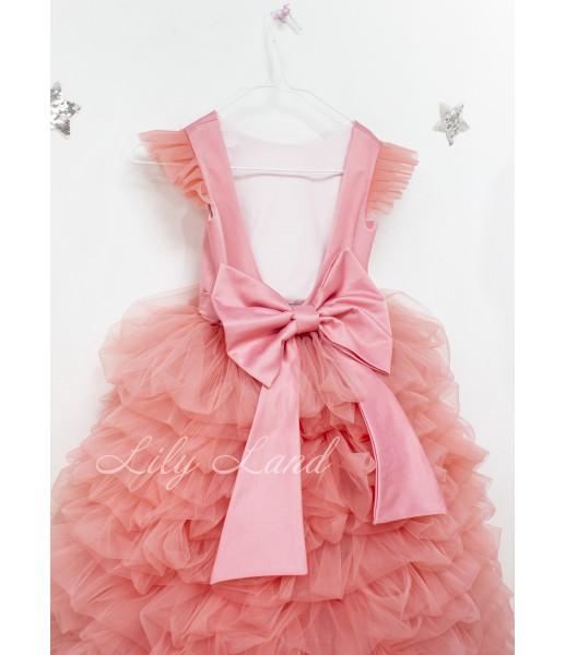 Детское нарядное платье Роза, цвет персик