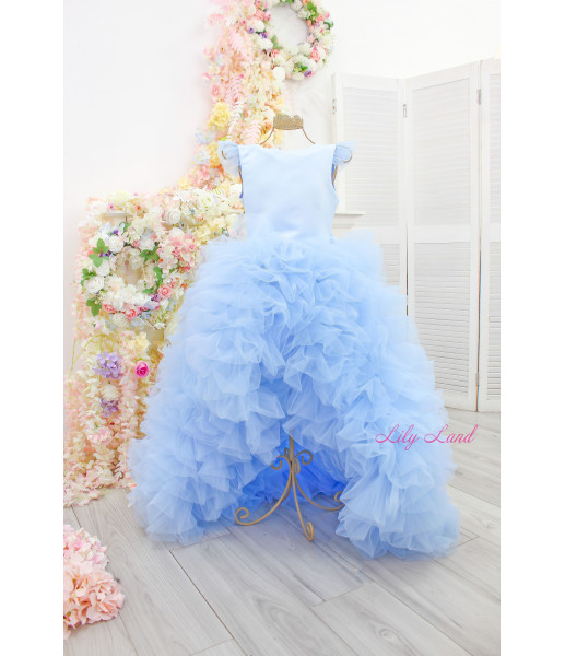 Детское нарядное платье Роза, цвет голубой
