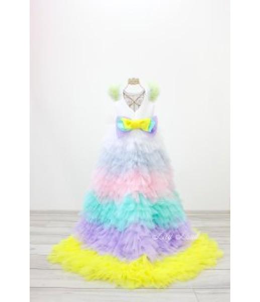 Детское нарядное платье Роза, с радужной юбкой