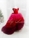 Детское нарядное платье Роза, цвет красный с градиентом