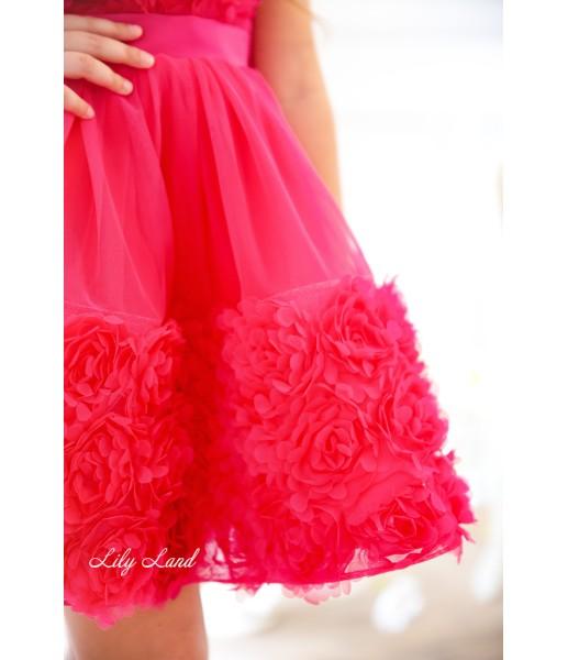 Детское нарядное платье Рози, цвет малиновый