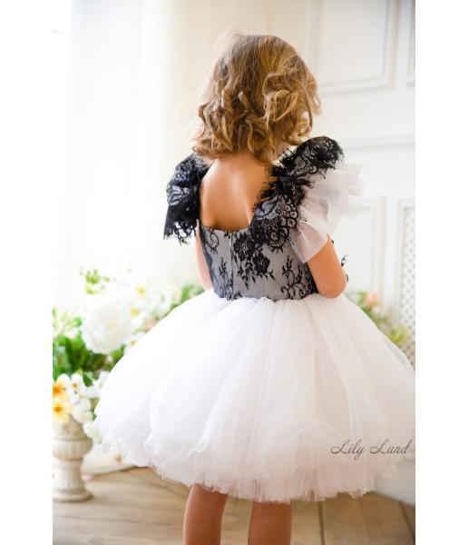 Детское нарядное платье Шанти, цвет белый с черным кружевом