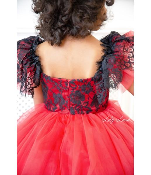 Детское нарядное платье Шанти, цвет красный с черным кружевом